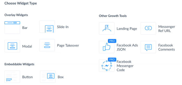 Source: Author Screen Shot of ManyChat Growth Tools Widget