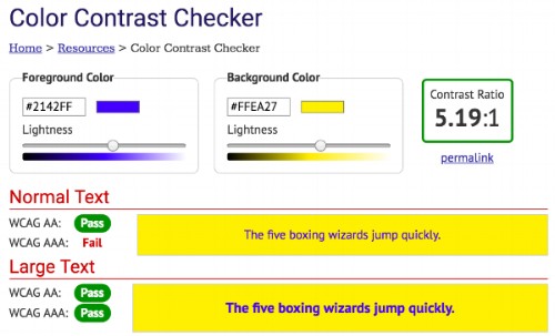 Source: WebAIM's Color Contrast Checker