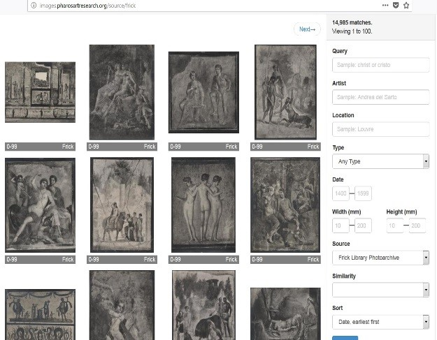 Directory of digitized photos available in browser-view and can be sorted by filter.  Source:  http://images.pharosartresearch.org/search