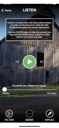 Be Here Stories' listening feature