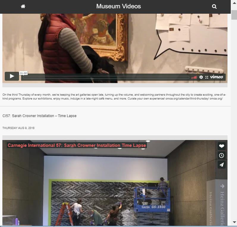 Screenshot of Museum Videos portal