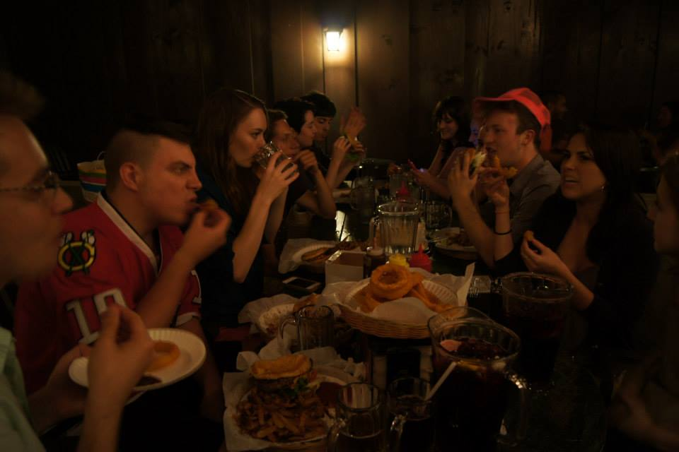 The cast chows down