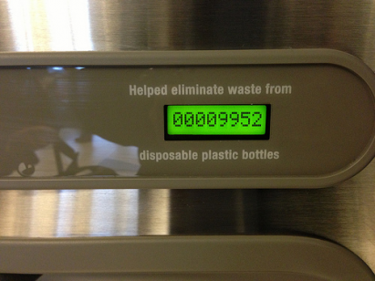 A counter automatically records how many times the water bottle portion of the station has been used. NPS photo.