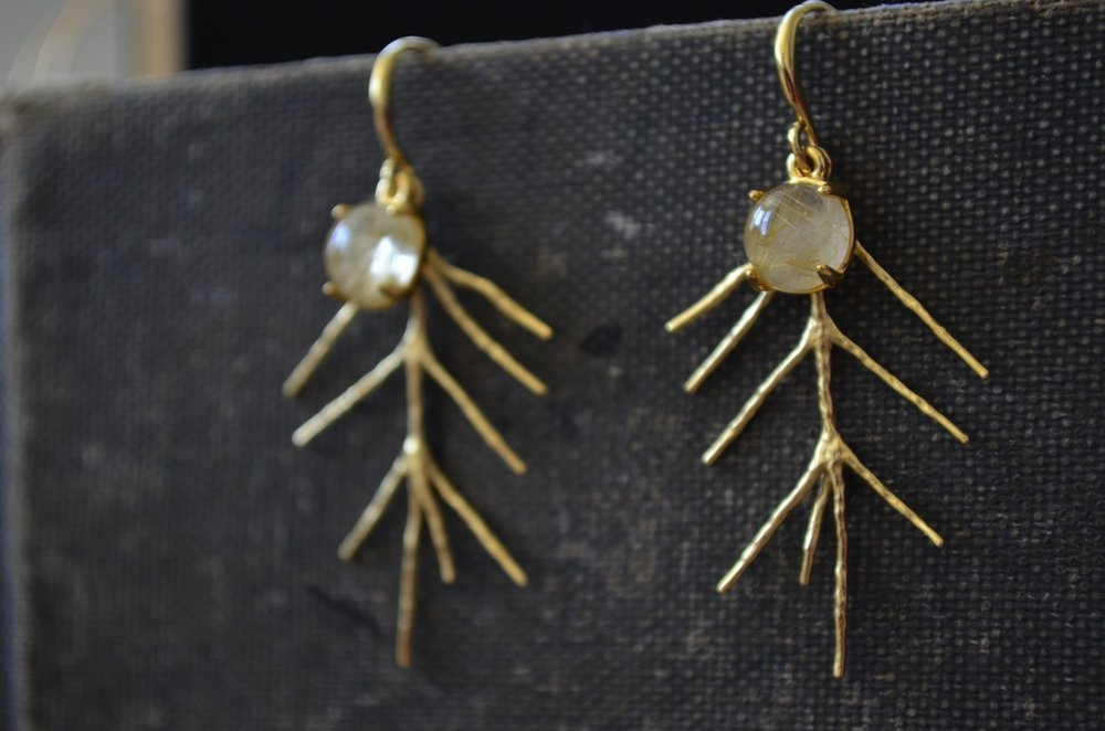 rutilated quartz pine earrings- 1st photography attempts