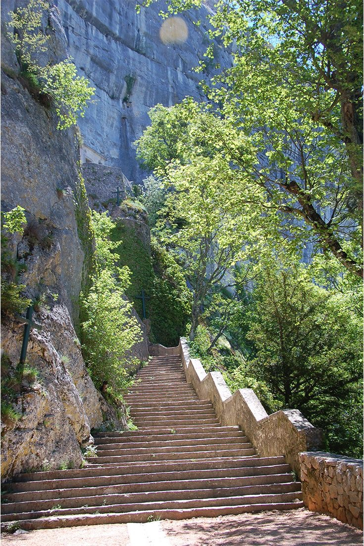 The steps up to the grotto of Mary Magdalene in Provence.