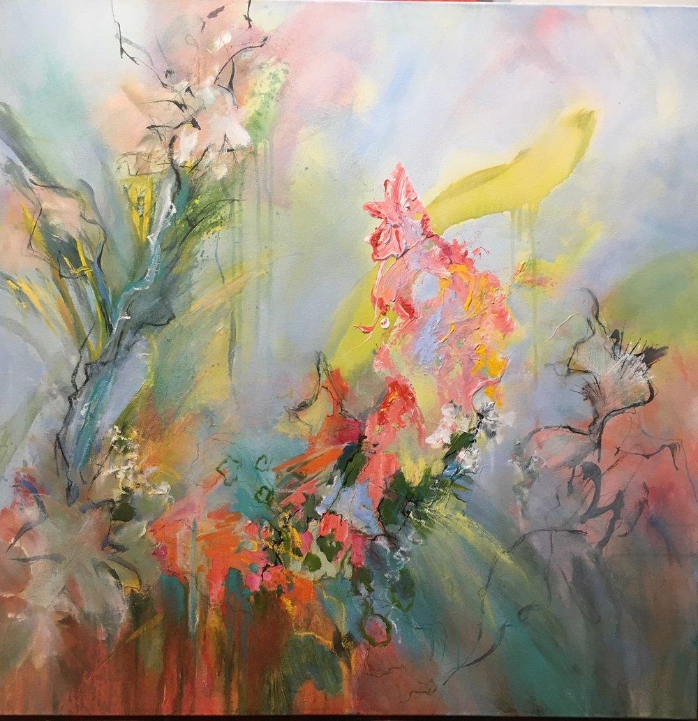 Season of Singing, 2018. Acrylic mixed media on canvas, 36 x 36 inches