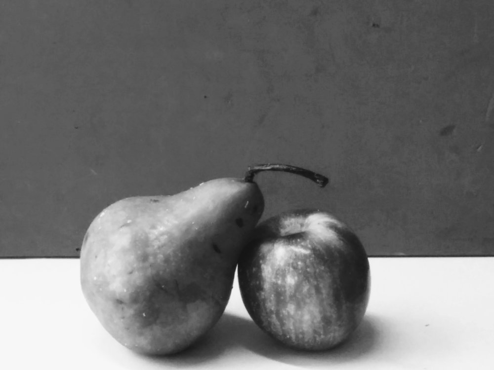 Pear and Apple in Black and White.jpg