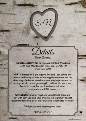 Side 2 of the invitation gave guests extra information they would need about the wedding.