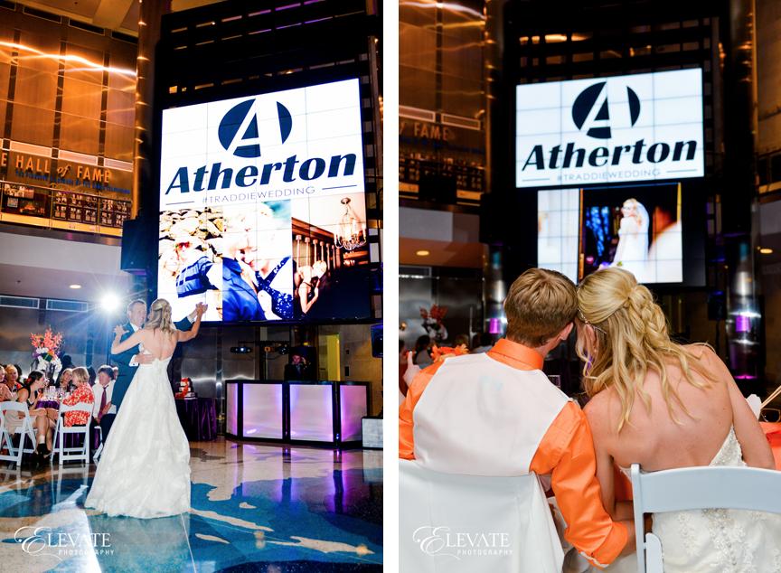 Custom Wedding Logo displayed on big screen
