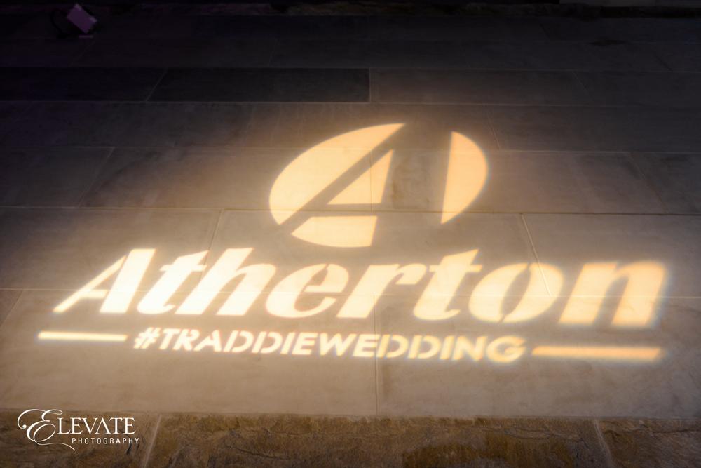 Custom Wedding Logo shone onto dance floor