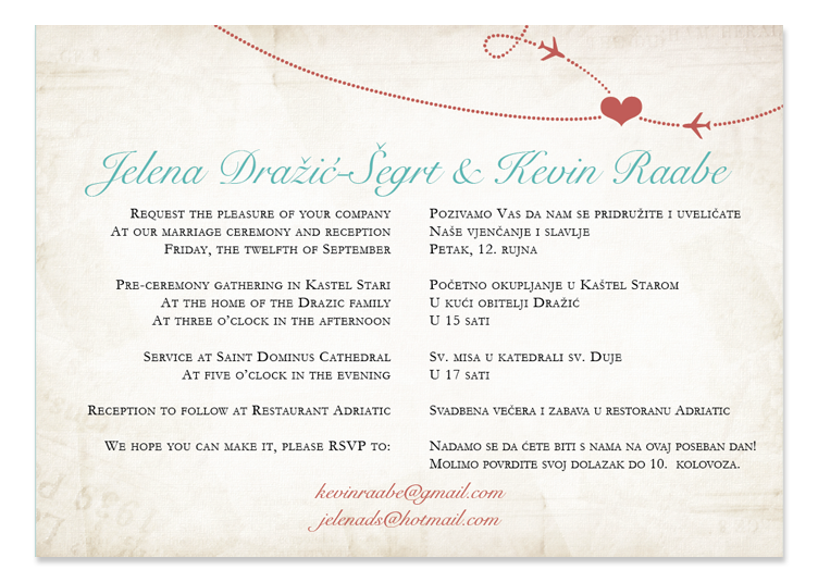 kevin  jelena's bilingual wedding invitations  six leaf design, Wedding invitations