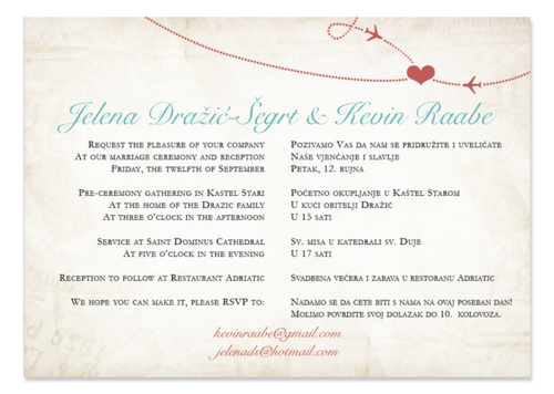 Vintage Style Teal Bilingual Wedding Invitation With World Map And 2 Languages On Back