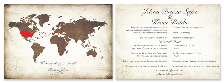 Vintage Style Bilingual Wedding Invitation Featuring World Map And 2 Languages On Back