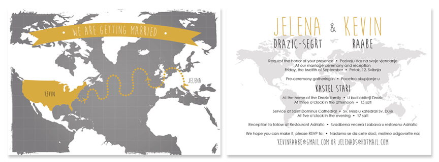 Lovely Modern Gray And Gold Bilingual Wedding Invitation Featuring World Map And 2  Languages On Back