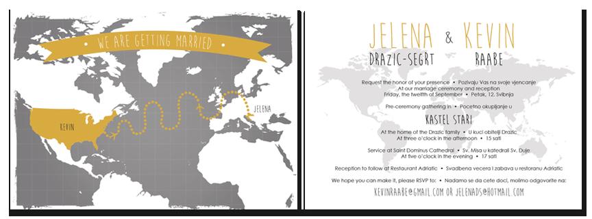 kevin & jelena's bilingual wedding invitations — six leaf design, Wedding invitations