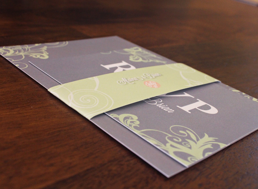Assembled wedding invitation set with band