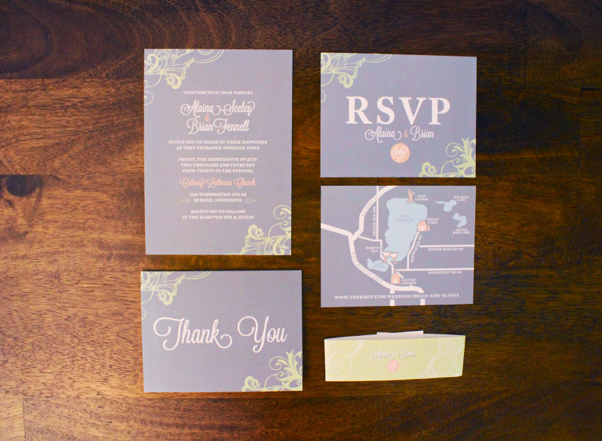 Full invitation set with custom map and Thank You card