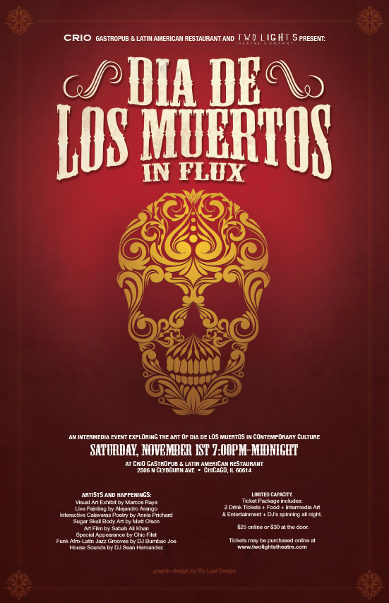 six leaf graphic design dia de los muertos halloween poster