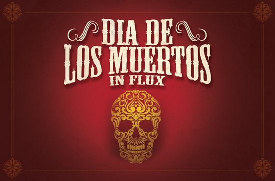 six leaf graphic design dia de los muertos halloween postcard
