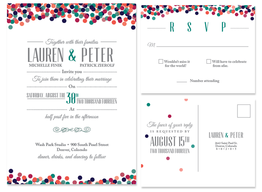 Pete lauren confetti typography wedding invitations six leaf invitation and rsvp postcard stopboris Gallery
