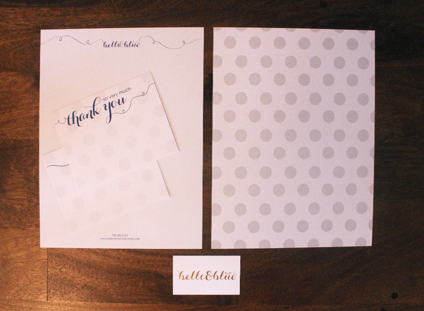 six leaf graphic design bello and blue stationery package
