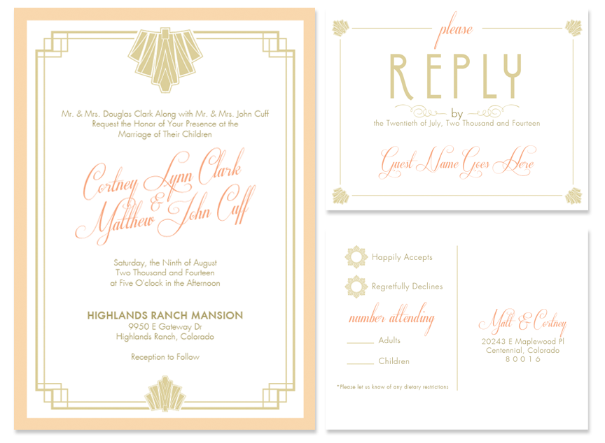 Matt Cortney Wedding Invitations Designs Six Leaf Design