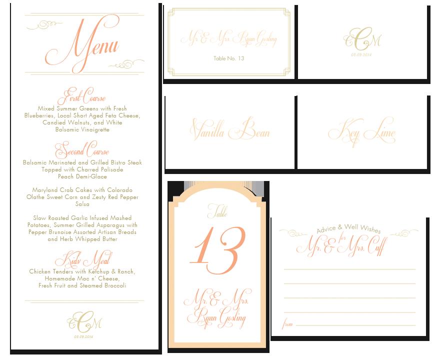 Menu, escort cards, dessert labels, table number, & stationery