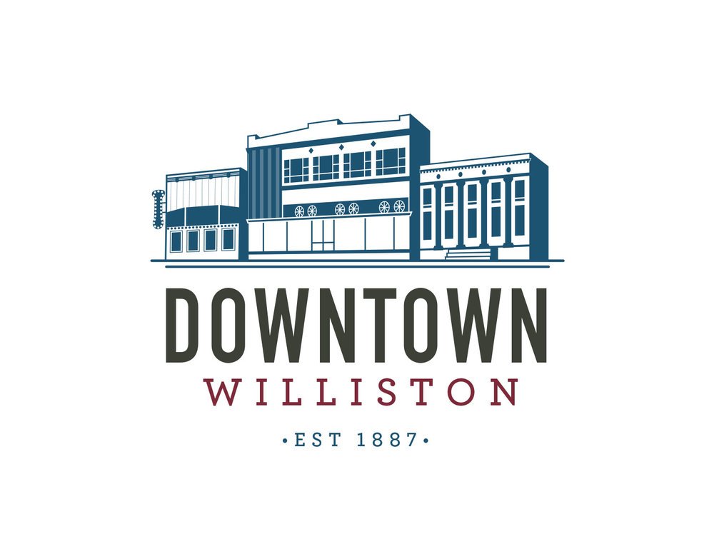 Illustrative Logo Design for Downtown Williston with Buildings | Freelance Graphic Designer | Denver, Colorado | Six Leaf Design