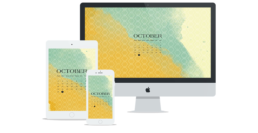 Free Digital Wallpaper Design for October 2016 Featuring Watercolor, Autumn and Fall Colors, and a Geometric Pattern | Burnt Orange, Teal, Yellow