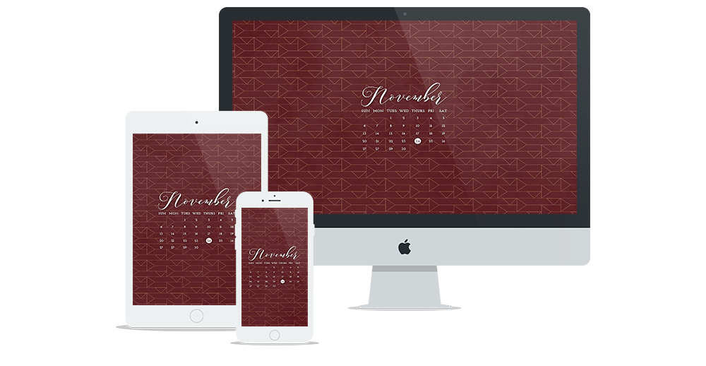 Free Wallpaper Design for November 2016 featuring a maroon geometric pattern and calendar