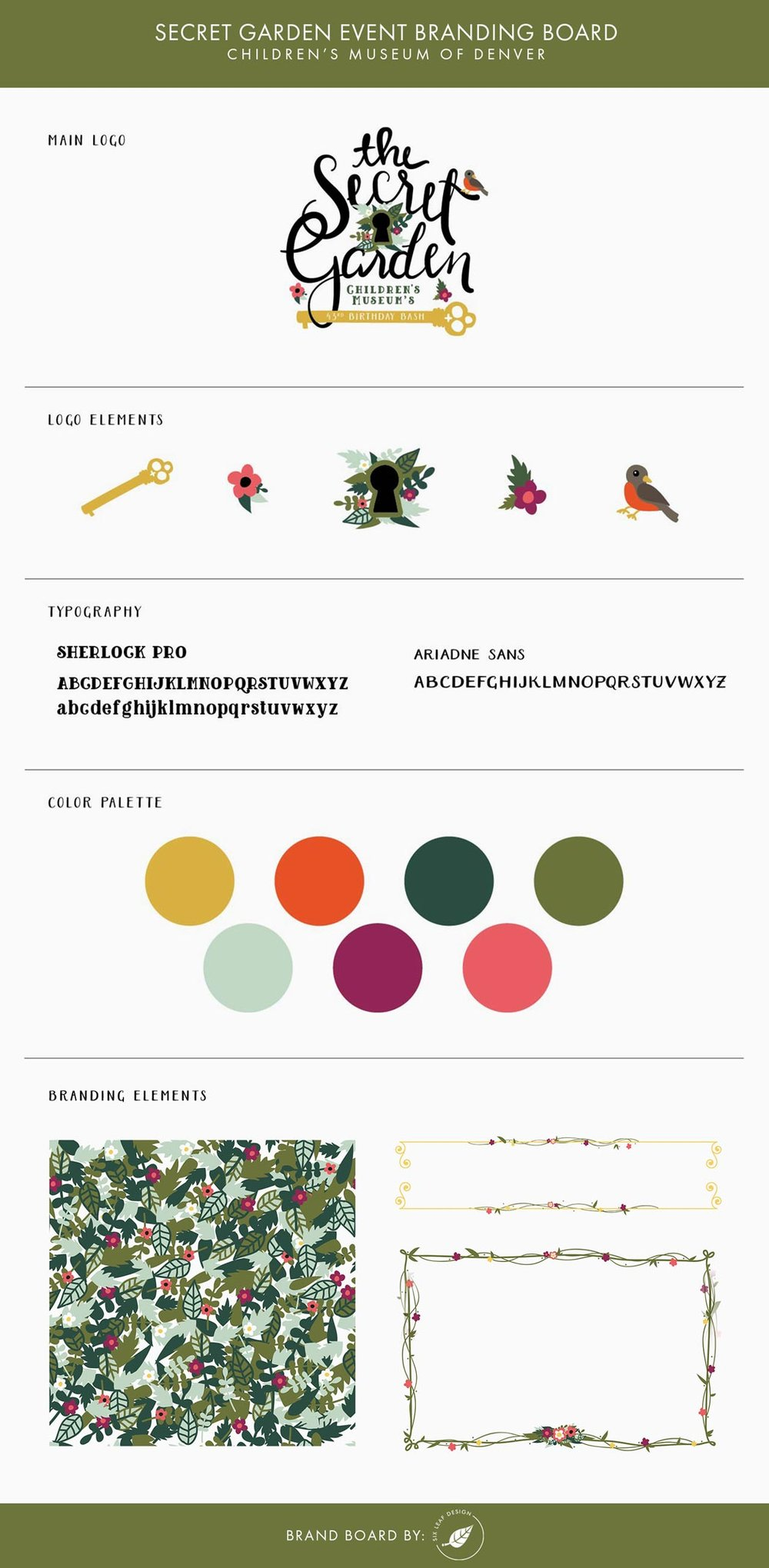 secret garden event branding board with logo design and floral illustration branding elements