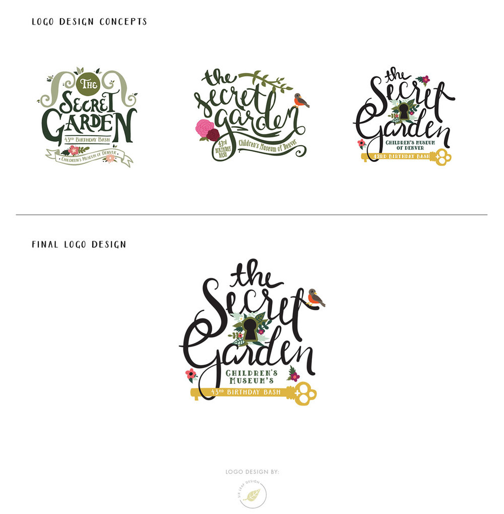 secret garden themed logo design featuring custom hand lettering and floral illustrations
