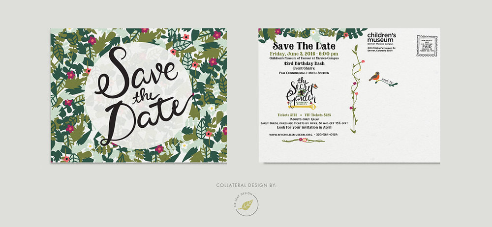 secret garden themed save the date design featuring custom hand lettering and floral illustrations