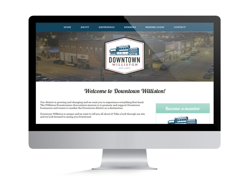 Logo, Brand Identity and Website design for Downtown Williston  | Six Leaf Design | Denver Freelance Graphic Designer