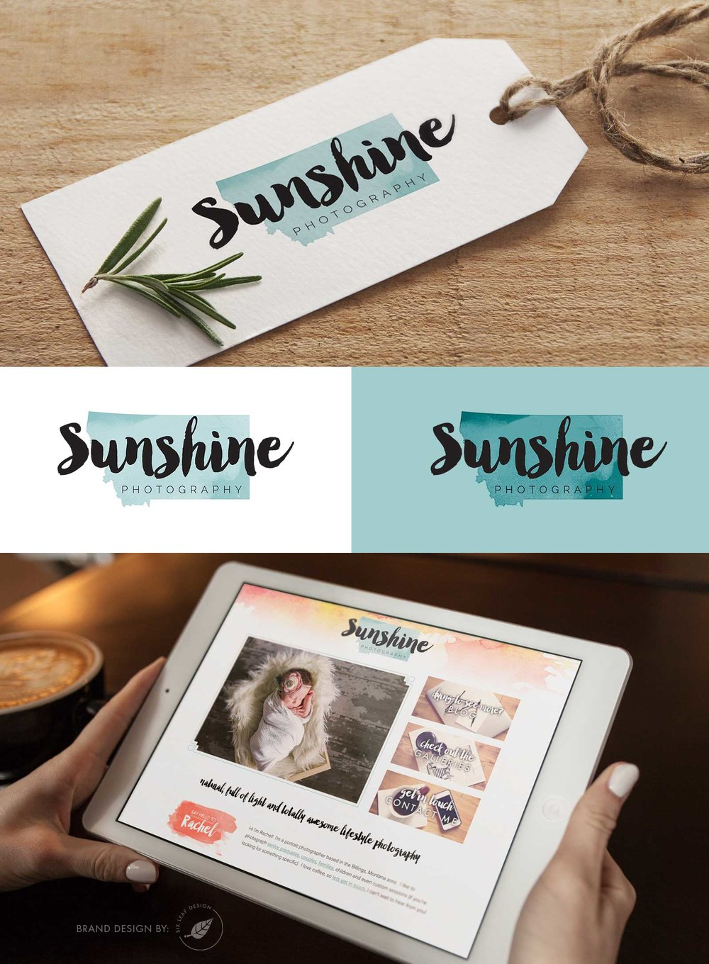 Logo Redesign for Sunshine Photography Featuring Script, Watercolor Texture and Teal + Orange Color Palette