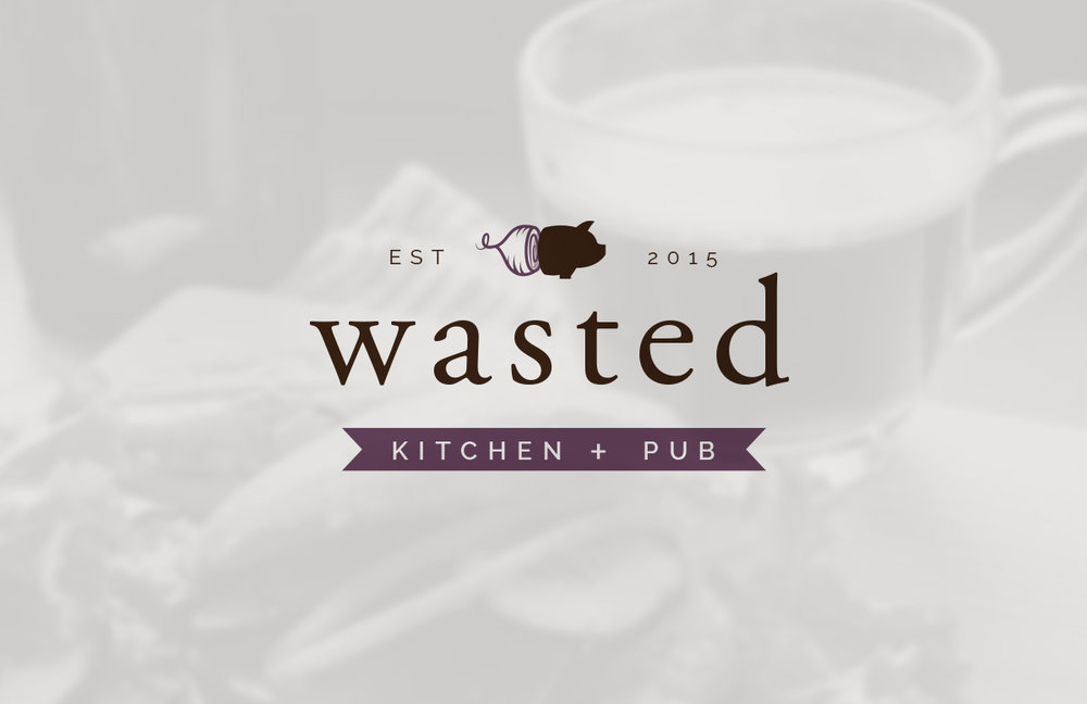 Restaurant Logo Design for Wasted Kitchen + Pub featuring Pig and Beet Icon with Brown and Purple Color Palette