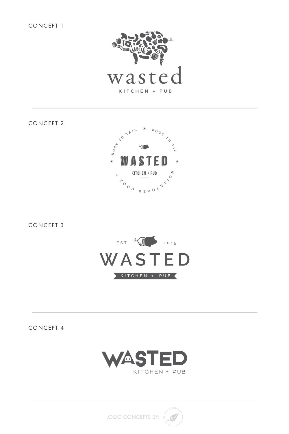 Restaurant Logo Concepts for Wasted Kitchen + Pub featuring Pig and Beet Icon