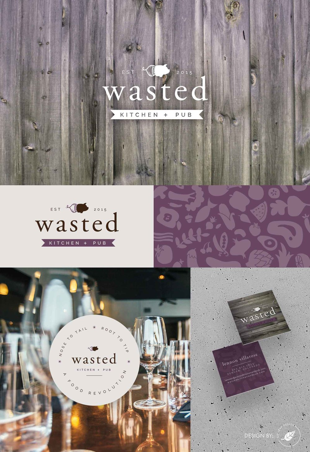 Restaurant Logo, Branding, and Business Card Design for Wasted Kitchen + Pub featuring Pig and Beet Icon, Wood Texture, and Custom Food Background Pattern with Brown and Purple Color Palette