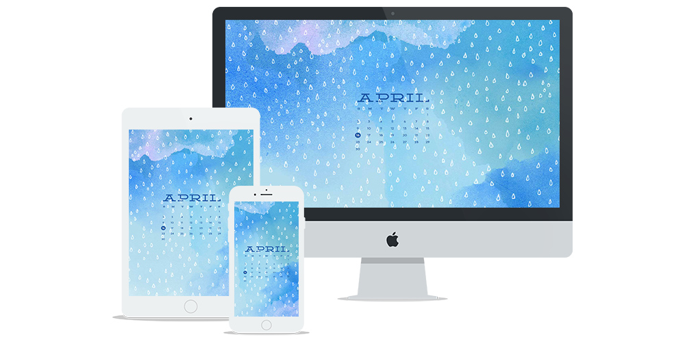 Free Digital Wallpaper Design for April 2017 featuring watercolor, hand-drawn pattern and calendar