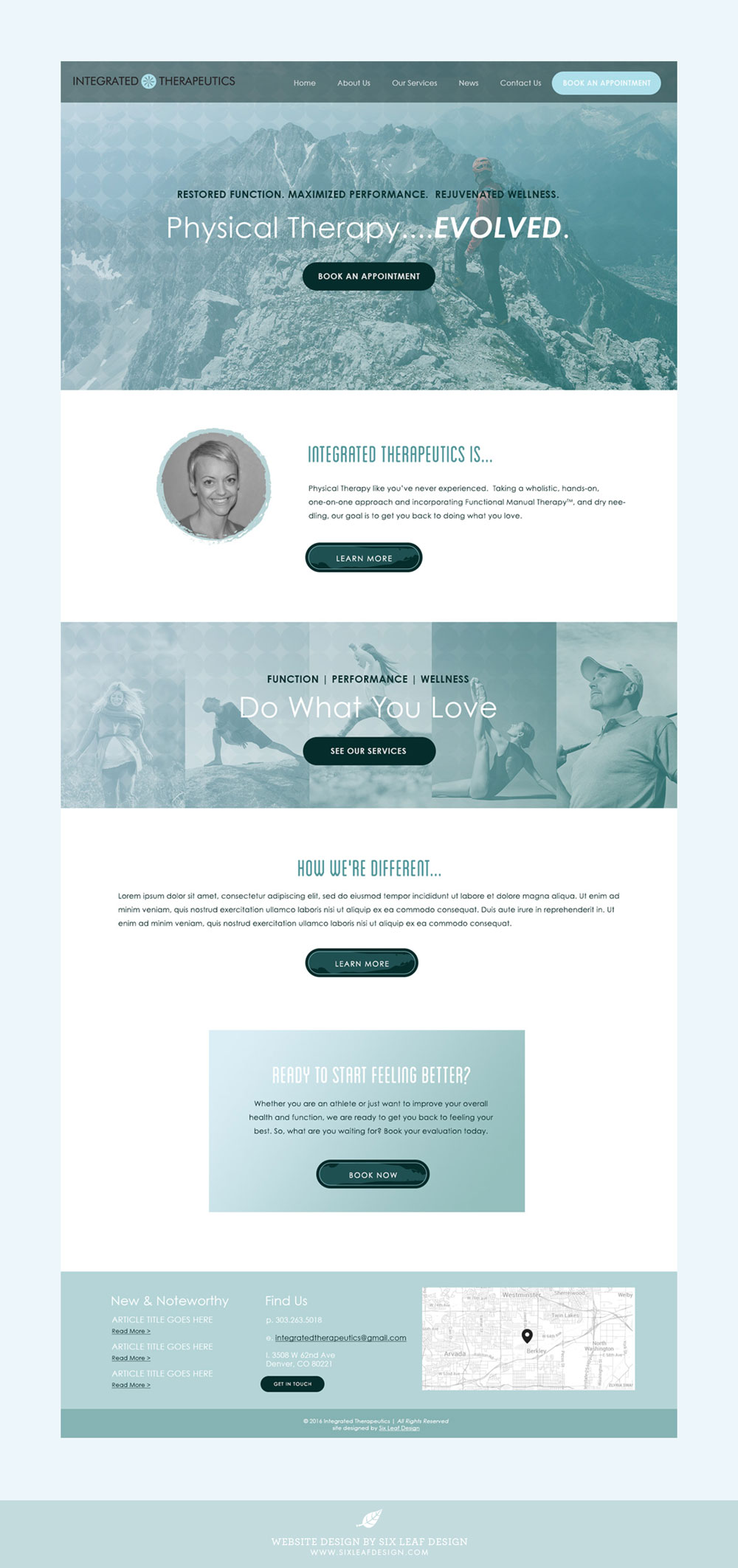 Homepage Design for Physical Therapy Business featuring Monochromatic Cool Color Palette and Active Photography