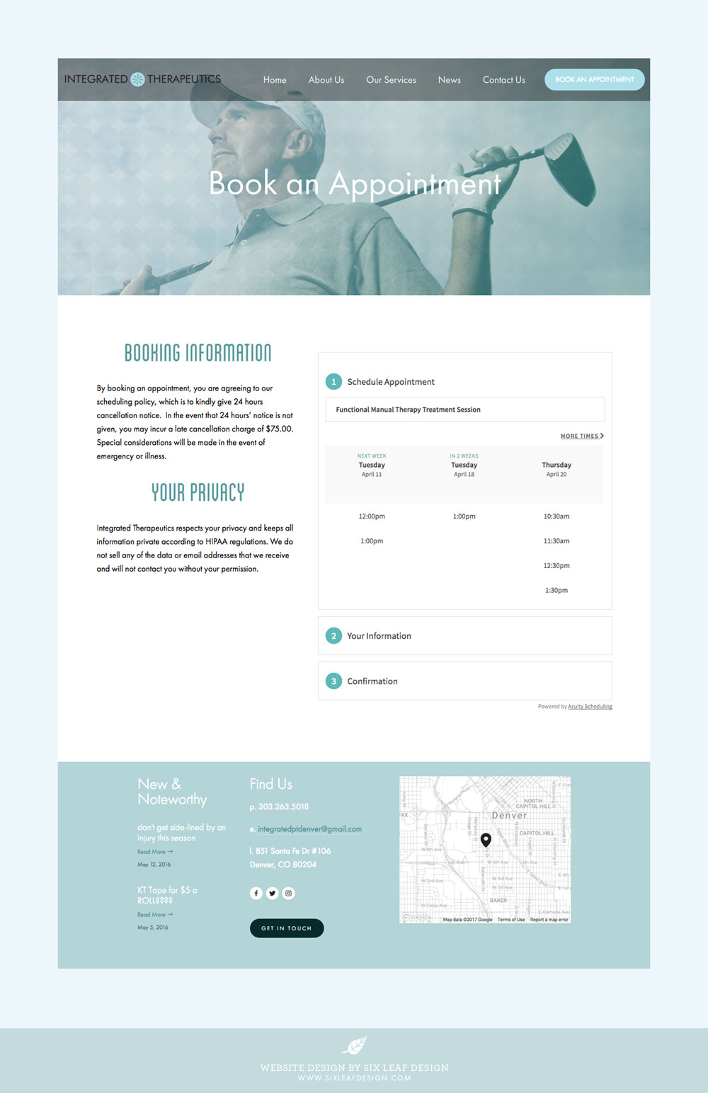 Website Design for Physical Therapy Business featuring Monochromatic Cool Color Palette and Active Photography