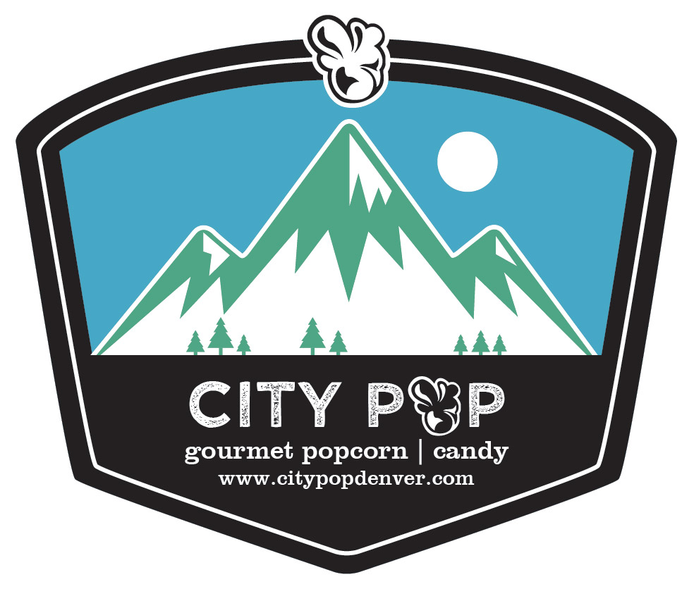 Popcorn Tin Label Design Featuring Mountain Illustration