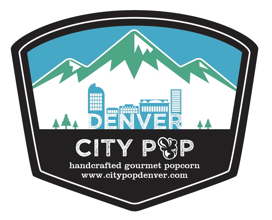 Popcorn Tin Label Design Featuring Mountains and Denver Skyline Illustration