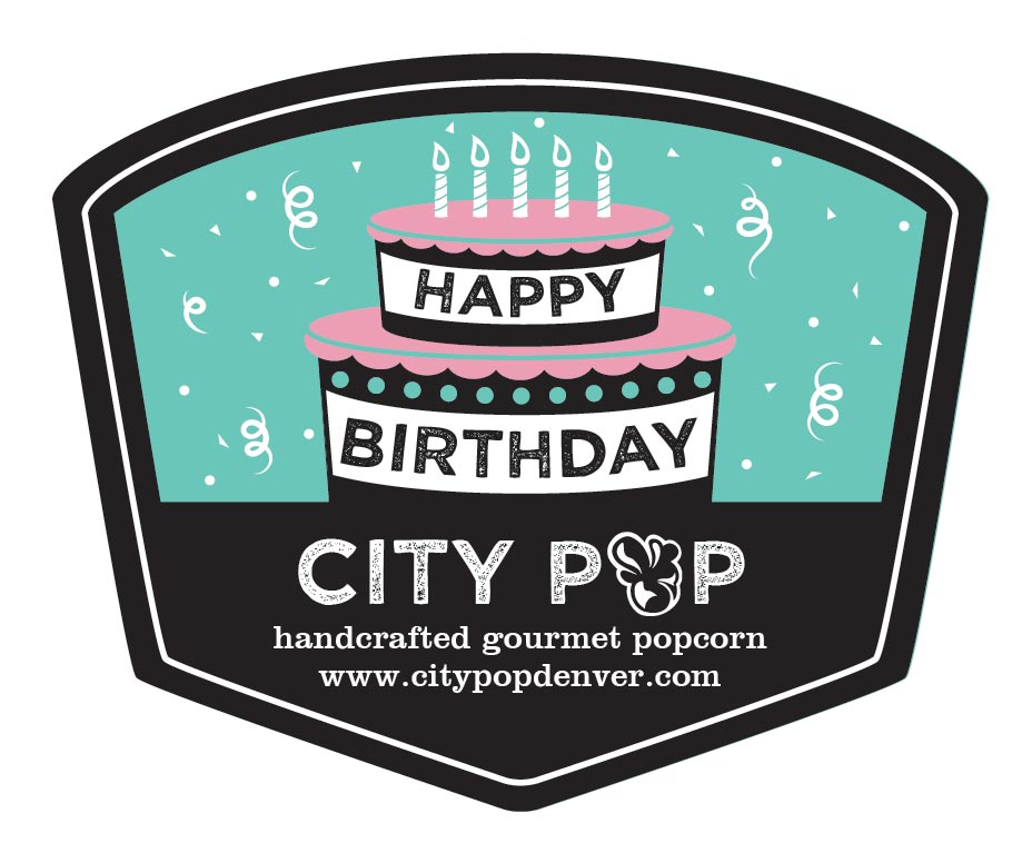 Popcorn Tin Label Design Featuring Birthday Cake Illustration