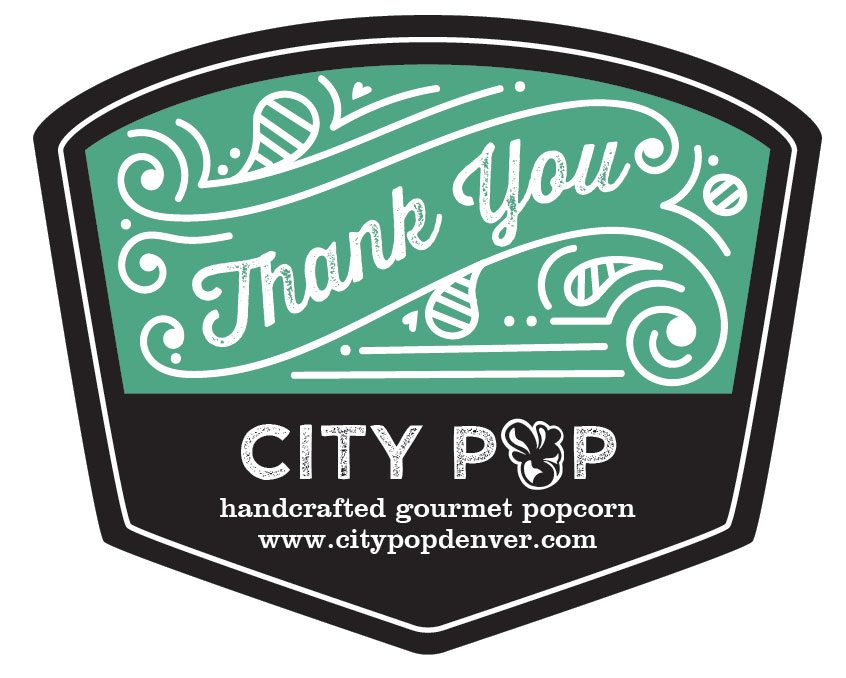 Popcorn Tin Label Design Featuring Typography Thank You