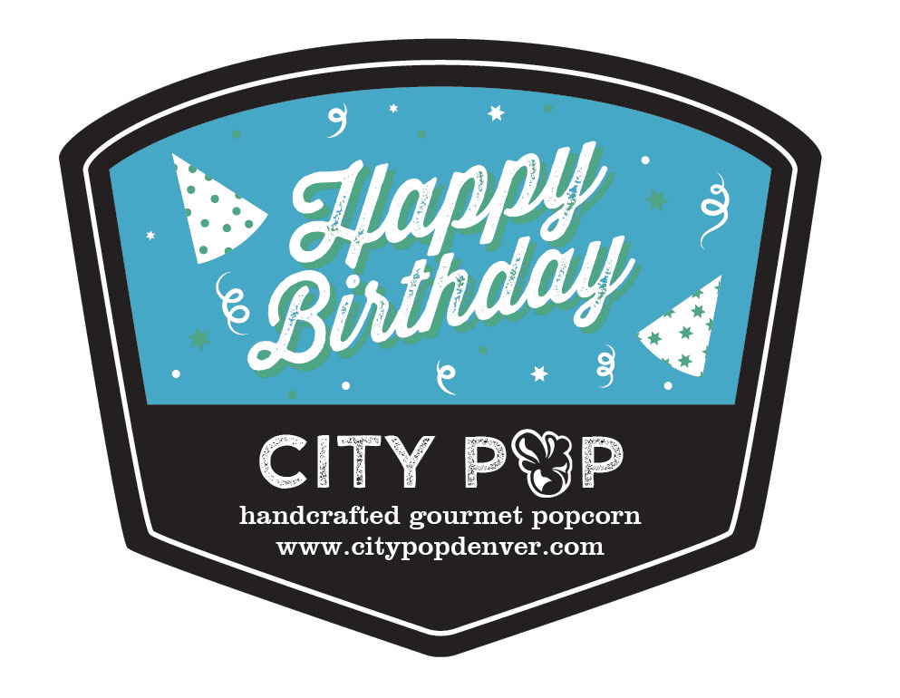 Popcorn Tin Label Design Featuring Birthday Hats and Confetti