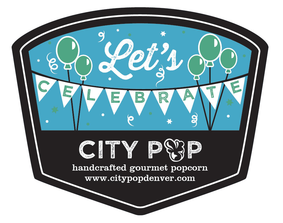 Popcorn Tin Label Design Featuring Balloons and Flags