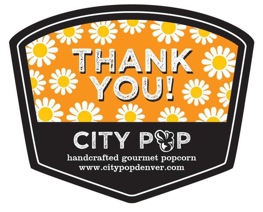 Popcorn Tin Label Design Featuring Daisies