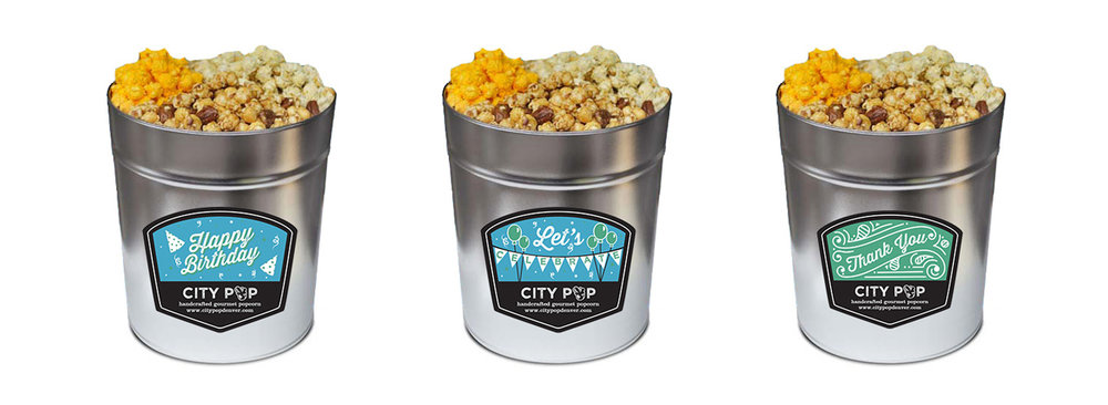 Popcorn Tin Label Design Featuring Custom Illustrations for Birthday, Celebration & Thank You