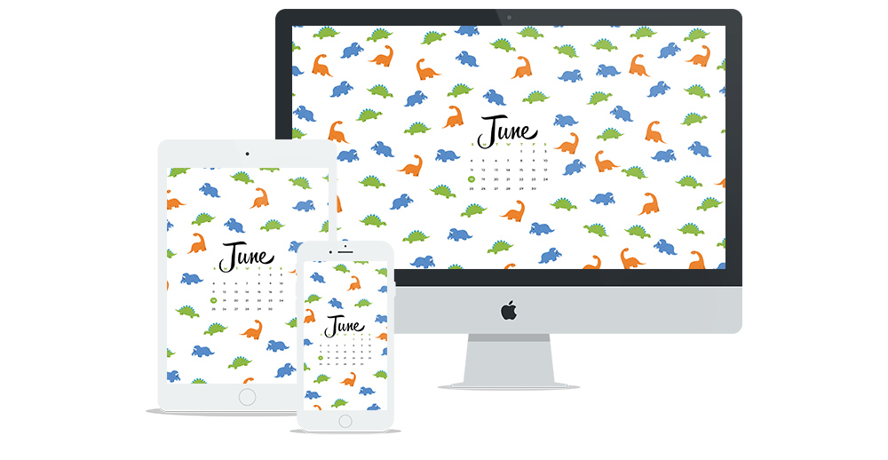 Free Wallpaper Design for June featuring illustrated dinosaur pattern and calendar